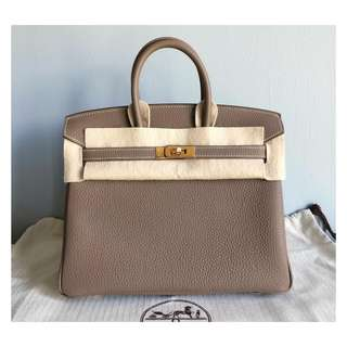 Authentic Hermes Birkin 25 Etoupe Ghw