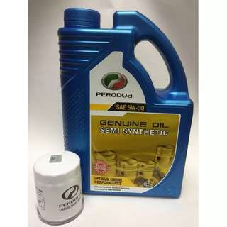 Perodua Semi Synthetic Engine Oil SAE 5W-30 4L + (FOC) Perodua Oil Filter