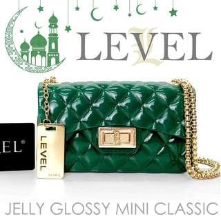 HANDBAGKU TAS LEVEL JELLY GLOSSY MINI CLASSIC MURAH fashion wanita import batam selempang sling bag