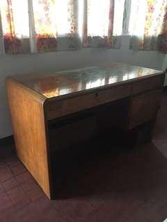 Wooden desk.
