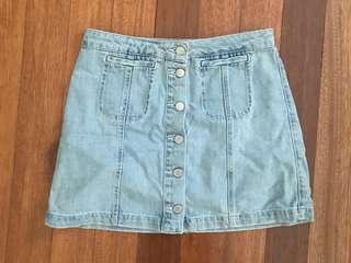 Topshop Moto Front Button-Down Denim Skirt