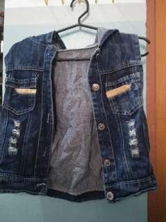 Maong blazer w/ hoodie