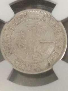 1890 Hong Kong 10cents Queen Victoria (Silver Coin) (NGC XF Details SURFACE HAIRLINES) 1890香港1毫銀幣 維多利亞女王 一毫舊硬幣 ringo77511@yahoo.com