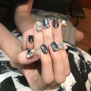 Black chrome nail arts@$30