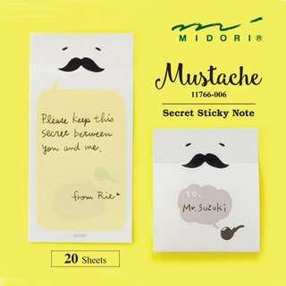 Midori 11766-006 Secret Sticky Notes - Mustache (20 sheets)