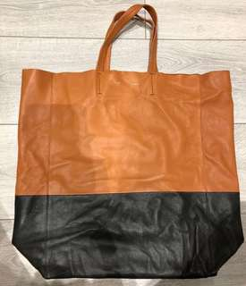 Celine Bicolour Lambskin Leather Vertical Bi-Cabas Tote Bag