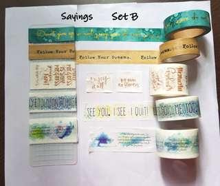 Sayings washi samples Set B