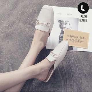#167 韓系方頭半拖鞋【直排扣】
