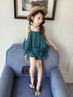 🚚 《預購》女童夏裝新款時髦套裝小女孩雪紡吊帶短褲童裝兒童夏季兩件套