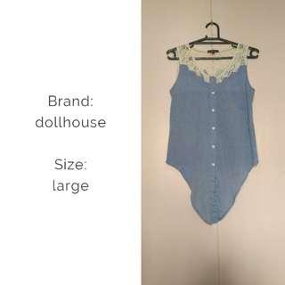 Dollhouse button down sleeveless with tie bottom