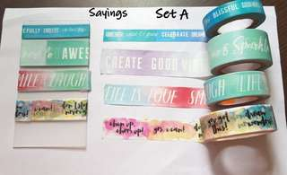 Sayings washi samples Set A