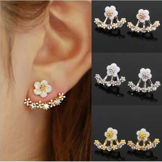 3 PAIR Fashion Earring Crystal White Gold Silver Jewelry flower ear
