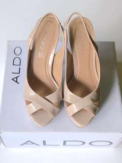 Aldo Beige Patent Sling Back Heels