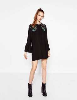 Zara Floral Embroidered Dress with Flare Frilled Trumpet Sleeves / Bell Sleeve Loose Dress