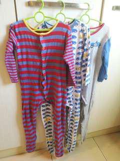 3 pcs Mothercare Sleepsuit bodysuit Long sleeves Pyjamas 24-36 months