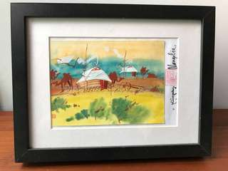 Light used: authentic watercolour card on mongolia scenery by Mongolia artist (with IKEA Ribba black frame)