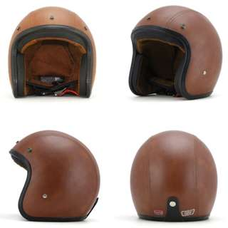 Brown Leather Motorcycle Helmet Open Face Three Button Snap Retro Vintage Vespa Scooter Cafe Racer Motorbike Leather Gloss Old School Harley Davidson