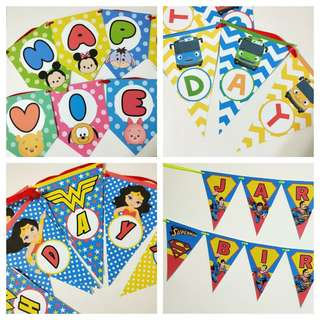 🚚 Customized birthday bunting,  banners