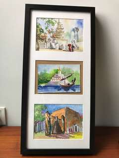 Lightly used: IKEA frame and three watercolour cards from Myanmar artists Yangon