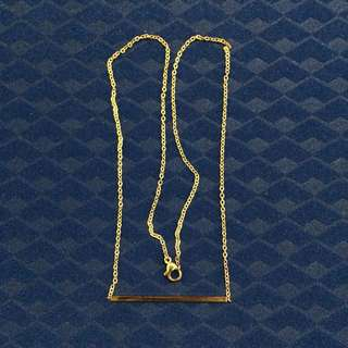 Gold Plated Stainless Steel Thin Bar Necklace