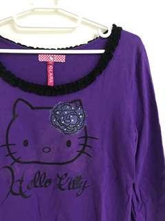 🚚 百貨公司專櫃KILARA kitty凱蒂貓玫瑰領花苞袖棉質七分袖上衣