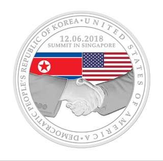 United Stated - North Korea Summit 2018 oz 999 Fine Silver Proof Medallion