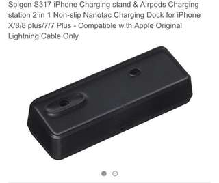 212• Spigen S317 iPhone Charging stand & Airpods Charging station 2 in 1 Non-slip Nanotac Charging Dock for iPhone X/8/8 plus/7/7 Plus - Compatible with Apple Original Lightning Cable Only