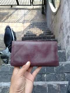 Yves Saint Laurent Long Wallet Burgundy Leather AUTHENTIC Vintage