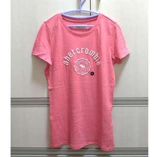 【全新正品】abercrombie kids 女童 經典款 麋鹿電繡 粉色短T (XL)
