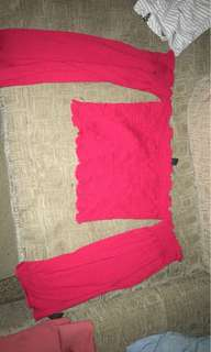 Red shoulder less top with sleeves