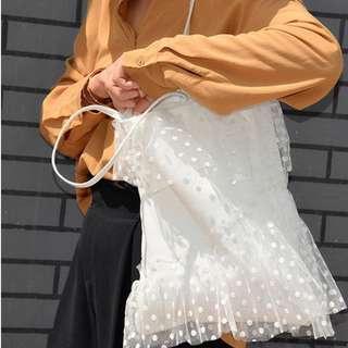 🚚 【週末女孩】原創設計訂製款 網紗蕾絲大容量包包 百搭甜美森林系側背包 點點網紗大容量包包 天使系甜美包包 BG205
