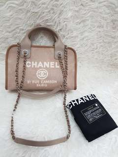 Authentic chanel deauville bowling canvas shw