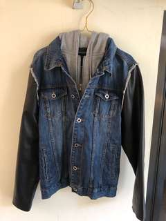 ZARA HOODED DENIM LEATHER JACKET
