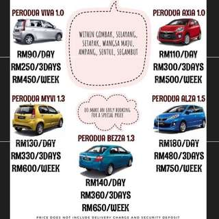 Perodua Viva Axia Myvi Bezza Alza for rent!