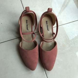 Soft pink suede shoes