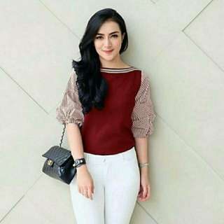BLOUSE RIRIN BAHAN BALLOTELY MIX KATUN ALLSIZE FIT TO LD100
