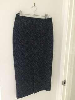 Veronica Maine long line black skirt white speckled print