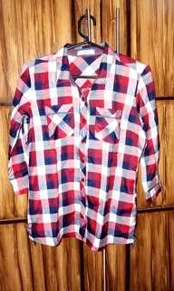 Crissa checkered polo 3/4 sleeves
