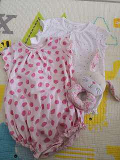 H&M Strawberry and Polka Dots Romper - Set of 2 (4-6M)