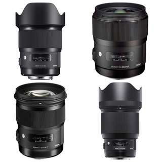 Sigma Art Prime Lens Set (EF): 20mm f/1.4, 35mm f/1.4, 50mm f/1.4, 85mm f/1.4 (all ART) (for hire)