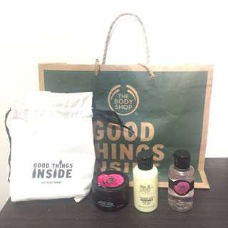 Paket Body Shop Shower Gel, Body Milk, dan Body Scrub (Original-Authentic)