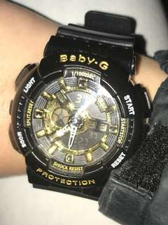 gold and black baby g watch $70