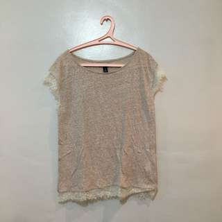 GAP | Oversized Thin Shirt with Lace Hemline