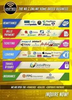 Western Union, Smartpadala, Cebuana, Billspayment, Travel n Tours