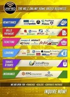Western Union, Smartpadala, Cebuana, Billspayment, Travel n Tours