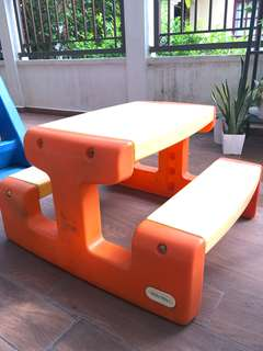 Outdoor play table with built in benches