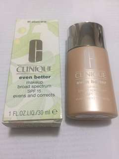 Clinique Even Better make up broad spectrum SPF15 evens and corrects foundation in 01 Alabaster