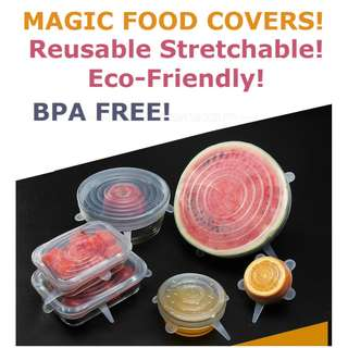 [6pc Promo]Eco Friendly Food Lids/Cover Reusable/Stretchable/Heat Resistant/BPA free