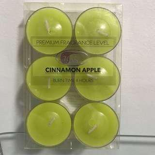 NEW Cinnamon Apple Scented Tealights x6