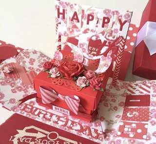 🚚 Handmade happy 59 birthday explsion Box card